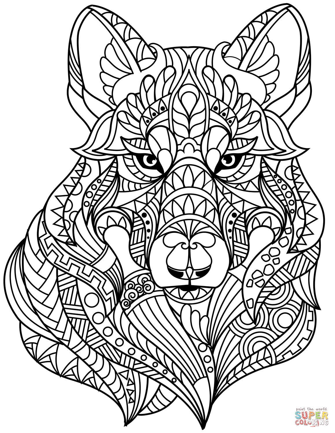 Wolf Head Zentangle Coloring Page From Zentangle Category Select From 29500 Printable Crafts Of Cart Animal Coloring Pages Abstract Coloring Pages Wolf Colors