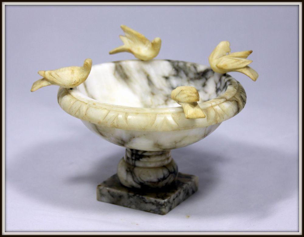 Alabaster bird hand carved small sculpture