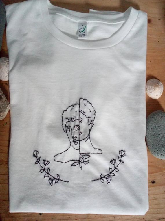 """Self embroidered T shirt """"Bipolar Statue"""" 100% organic cotton – Embroidery"""