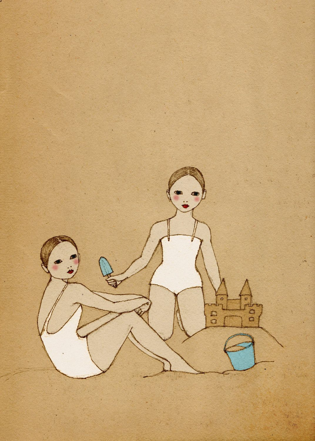 Girls building a Sand Castle Deluxe Edition Print of original drawing.  via Etsy.