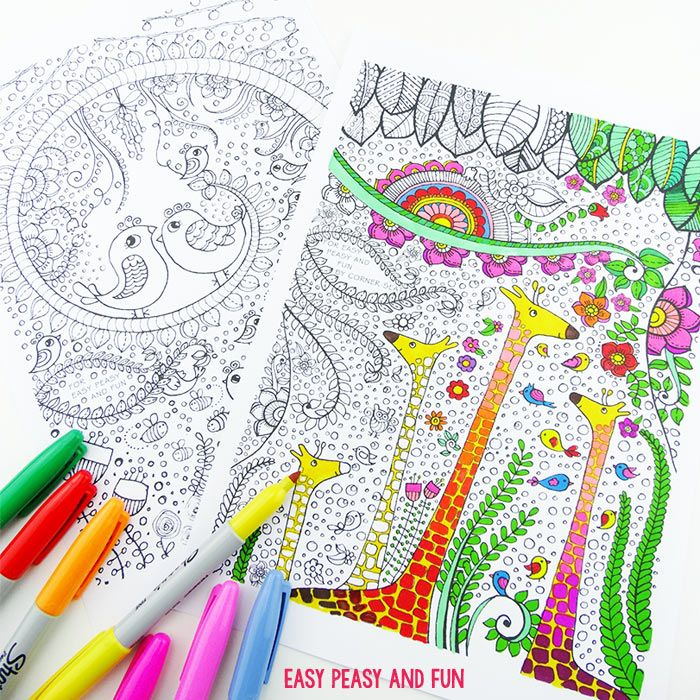 Birds and Giraffes Coloring Pages for Grown Ups | Giraffe, Easy ...