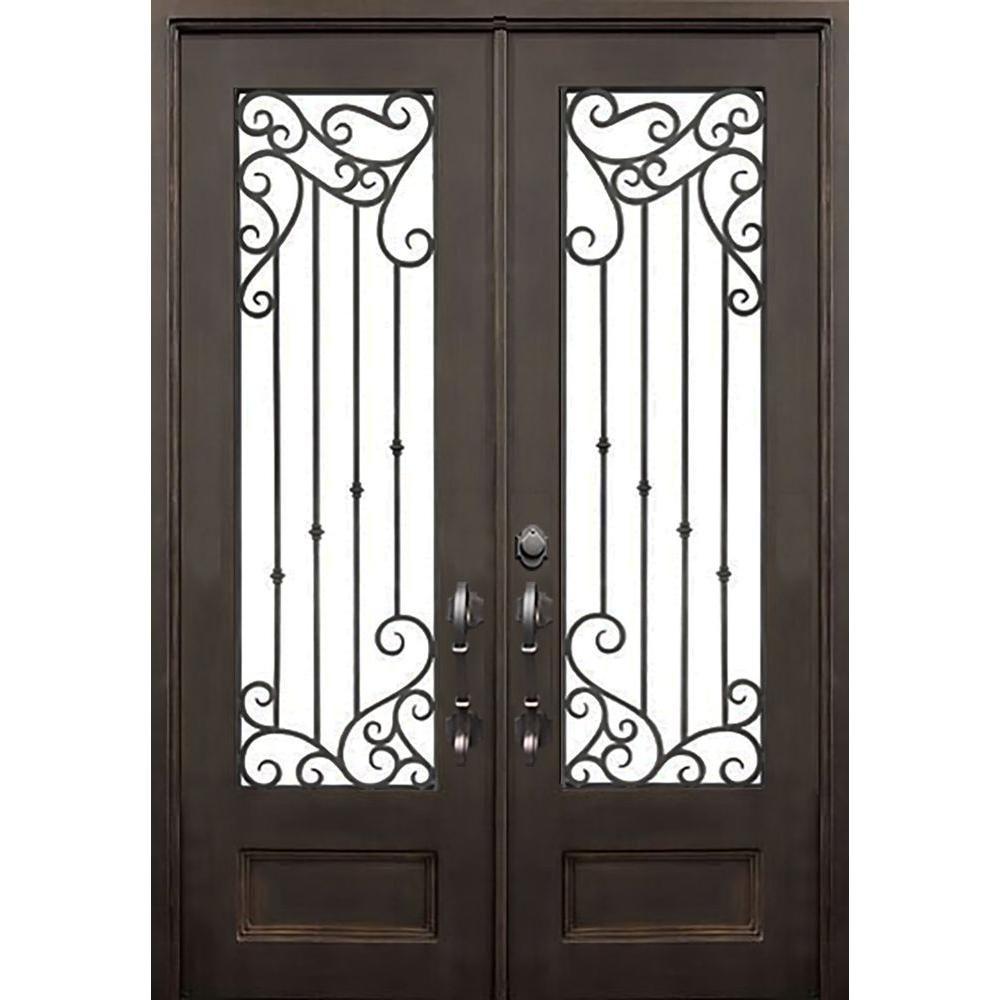 Florida Iron Doors 72 In X 96 In Lakeland Dark Bronze Right Hand Outswing Painted Iron Prehung Fron Diseno Puertas Puertas De Hierro Forjado Puertas De Metal