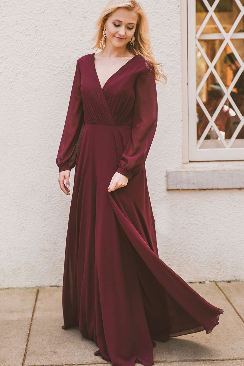 Juliet wedding dress  Juliet Chiffon Long Sleeve Dress  Revelry Bridesmaid Dresses