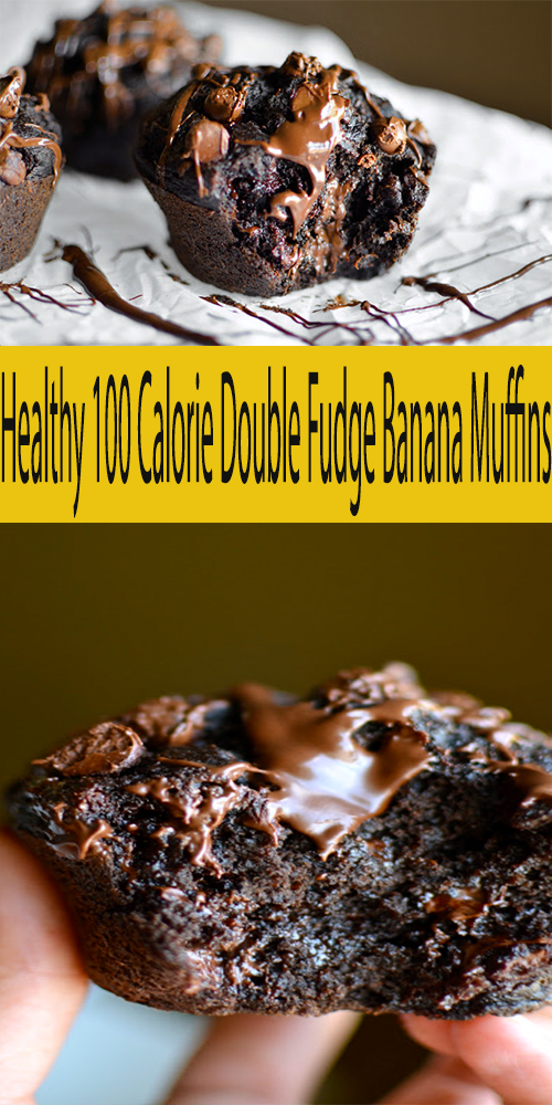 Healthy 100 Calorie Double Fudge Banana Muffins —