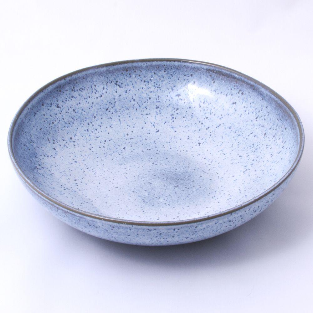 Handmade Ceramic Platter In Coastal Kitchen: Blue Speckled Handmade Ceramic Pasta Bowls (Set Of 6