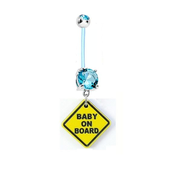 Cute BABY On BOARD Aqua Blue Gem Pregnancy Flexible by BodyBitscom