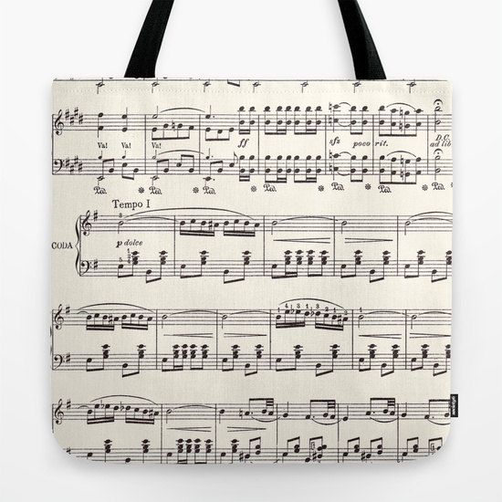 Sheet Music Tote Bag White And Black Musical Singer