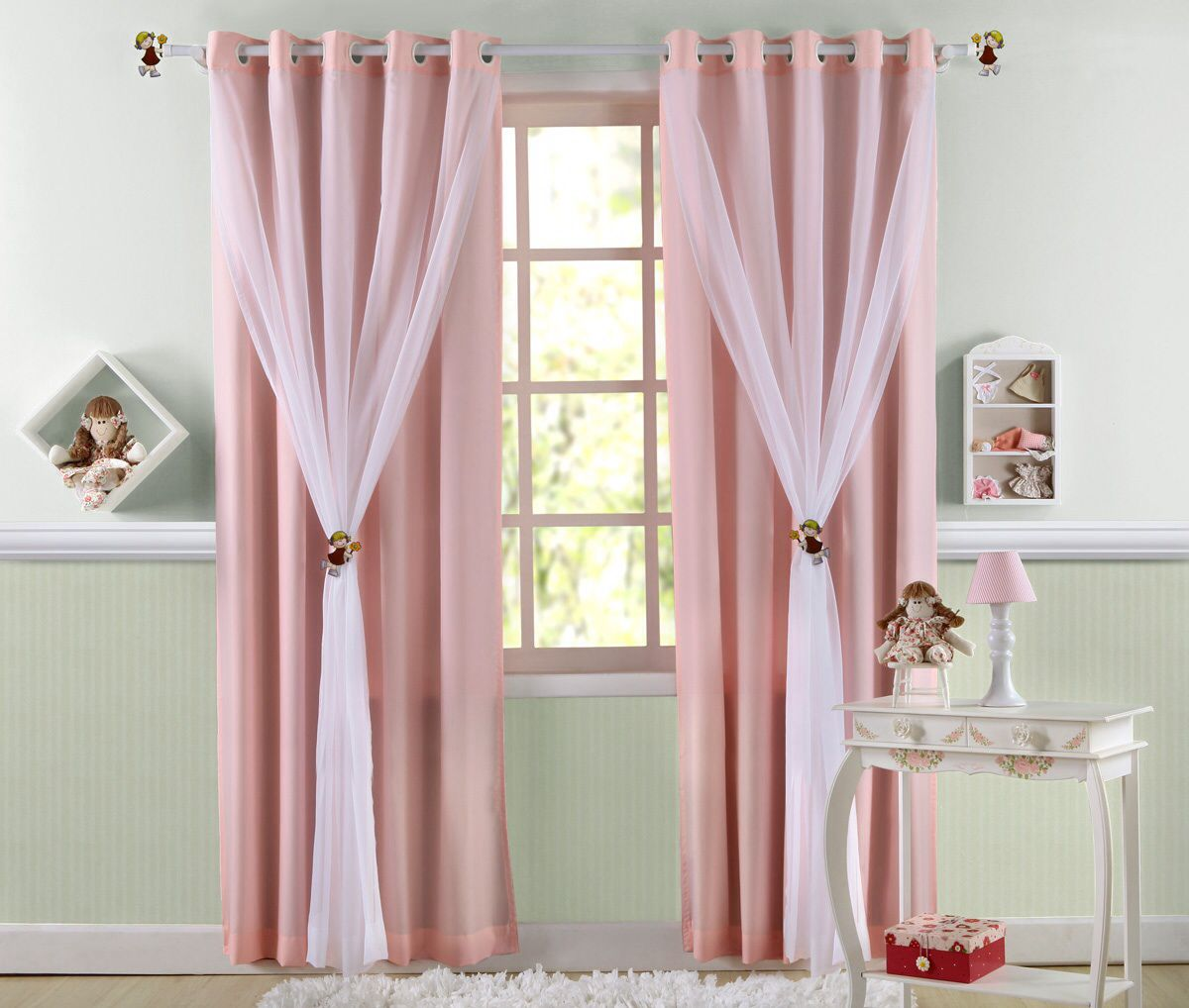 Cortina infantil rosa decoraci n pinterest cortinas for Cortinas para cuartos infantiles