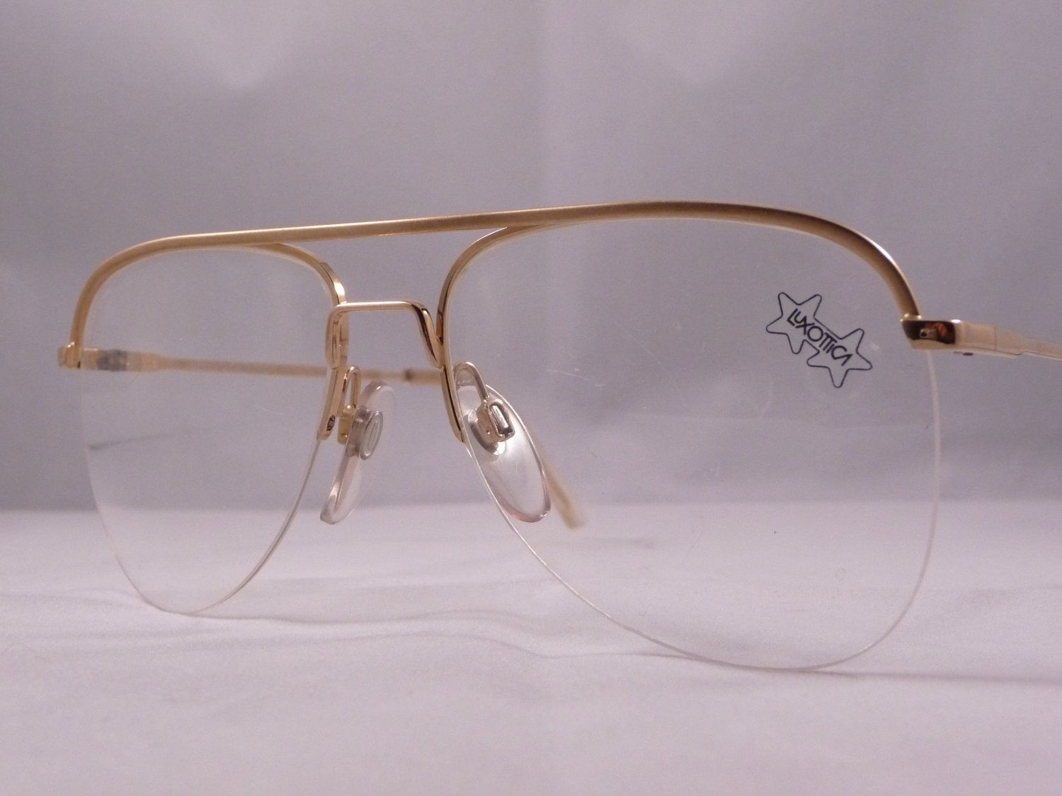 Luxottica Aviator half rimmed eye glasses - Vintage 1980s -  Golden frames, Old Stock - Made in Italy