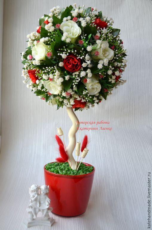 """Купить Топиарий """"Красно-белые розы"""" - ярко-красный, топиарий, топиарий дерево счастья, подарок:"""