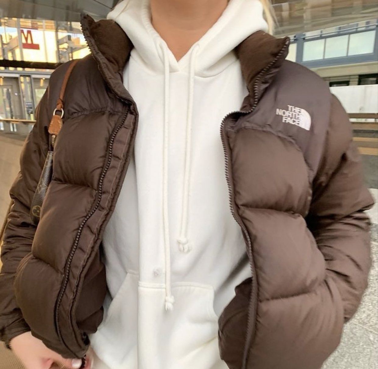 On Twitter North Face Puffer Jacket Brown Outfit Fashion Inspo Outfits [ 1212 x 1241 Pixel ]