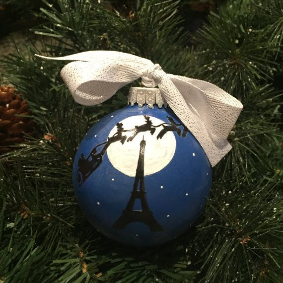 Personalized Eiffel Tower on Christmas Eve Glass Ornament
