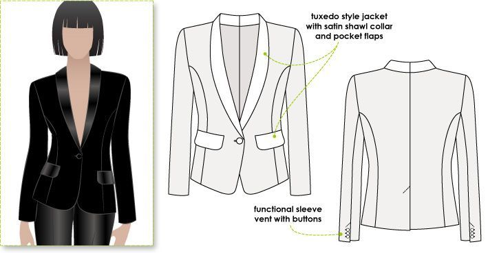 Style Arc pattern: Classic tuxedo style fully lined jacket with shawl collar