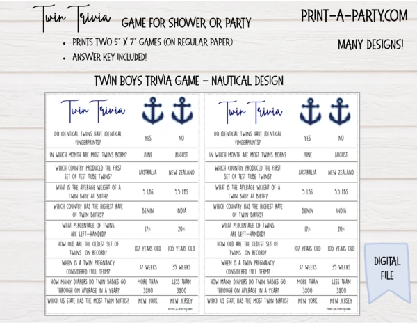 TWIN TRIVIA Game for Twin Boys – for Baby Shower or Party – INSTANT DOWNLOAD
