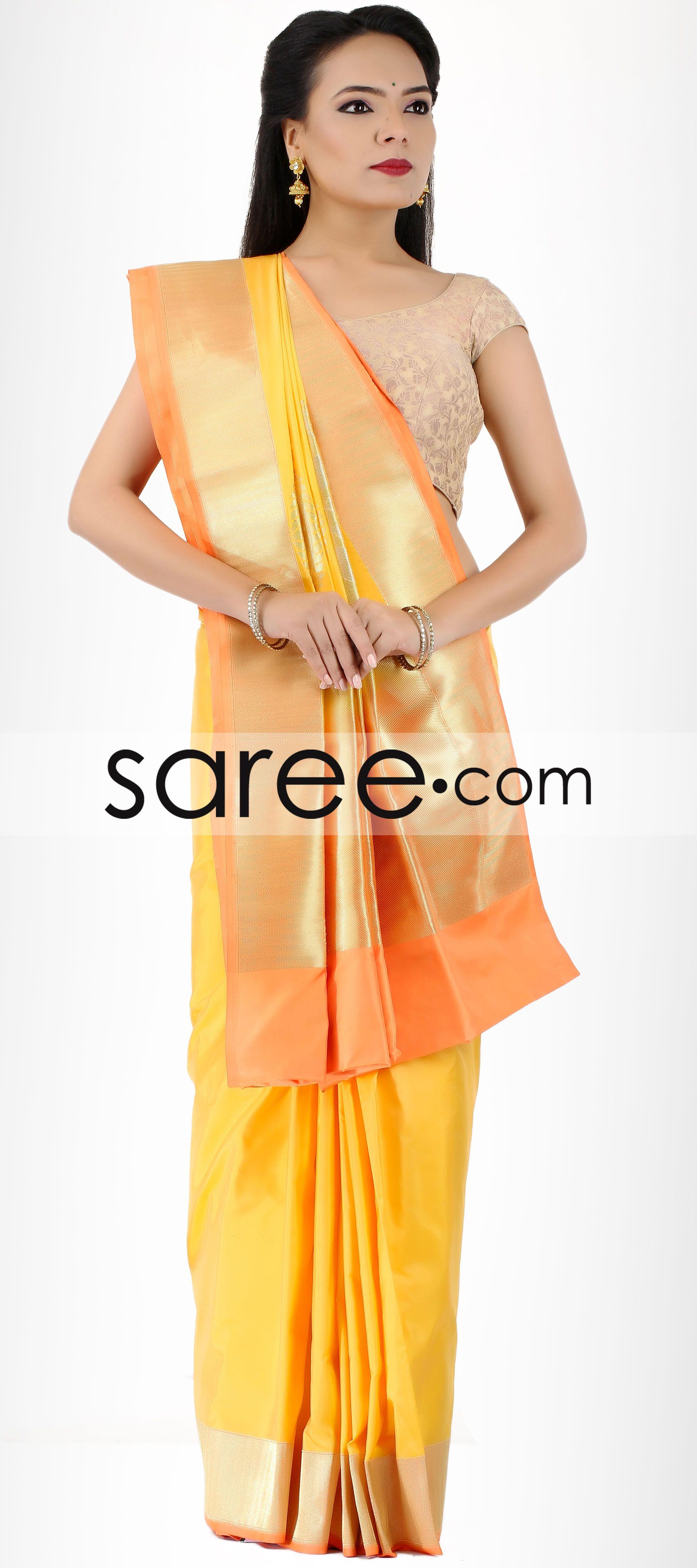 Yellow silk saree yellow silk saree with zariby asopalav