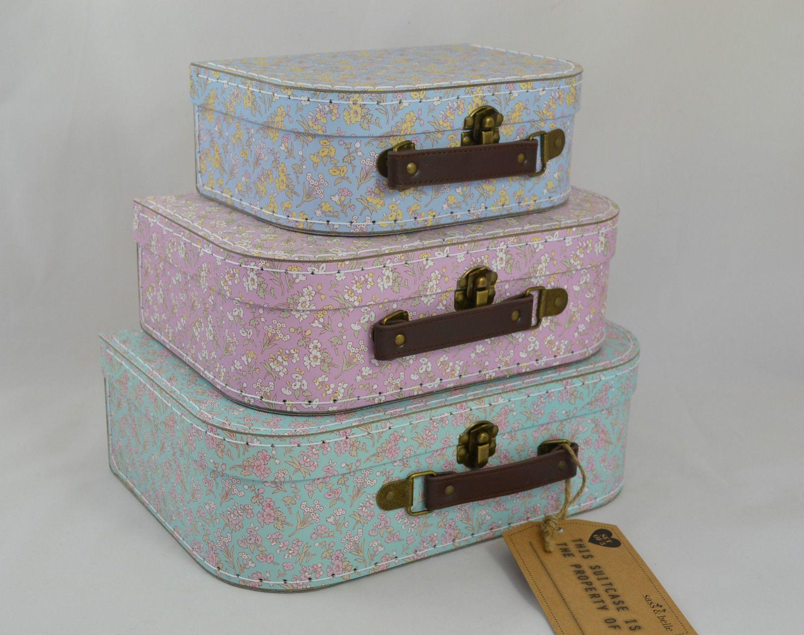 MAKE UP STORAGE ---- Sass & Belle Grace Vintage Floral Suitcases Decorative Storage 3 sizes or set in   eBay