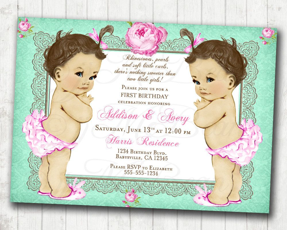 Twins Birthday Invitation For Twin Girls - Vintage - Floral - Shabby ...