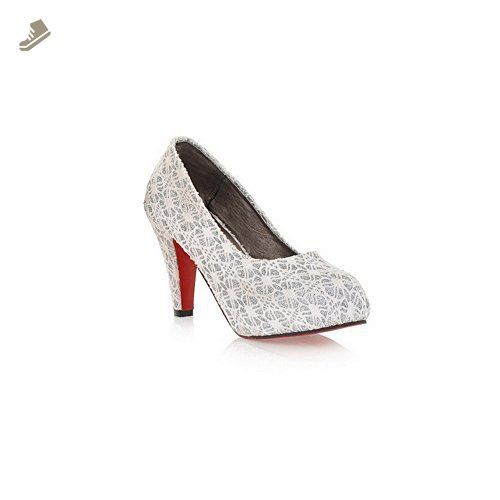 Balamasa Womens Pull On High Heels Solid White Pumps Shoes - 9.5 B(M) US - Balamasa pumps for women (*Amazon Partner-Link)