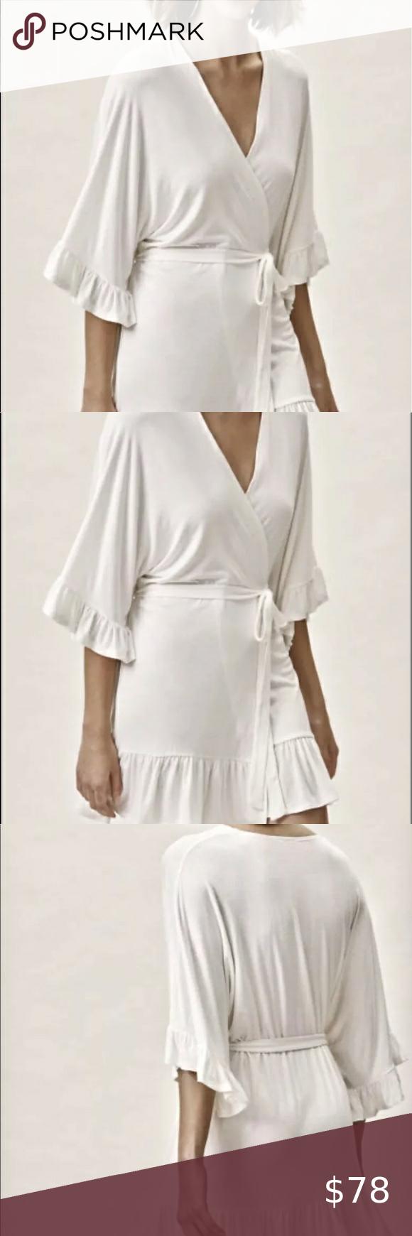 BHLDN Plum Pretty Sugar Robe Kimono Ivory Stretchy Ruffle Hem Belt XS S NEW