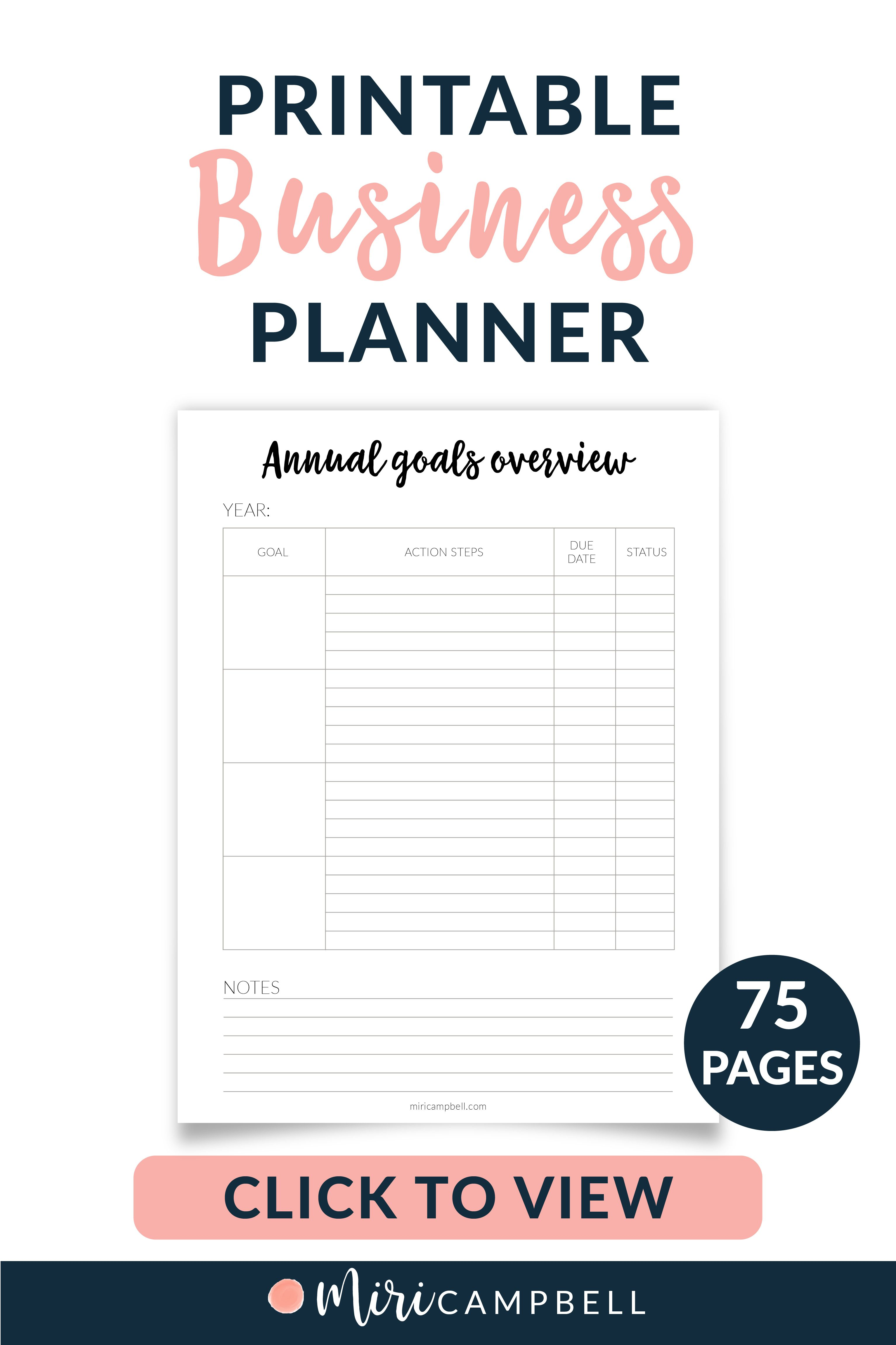 Printable Business Planner Small Business Planner