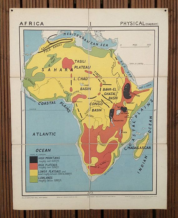 Vintage school map of Africa Physical features No1 in the Gill