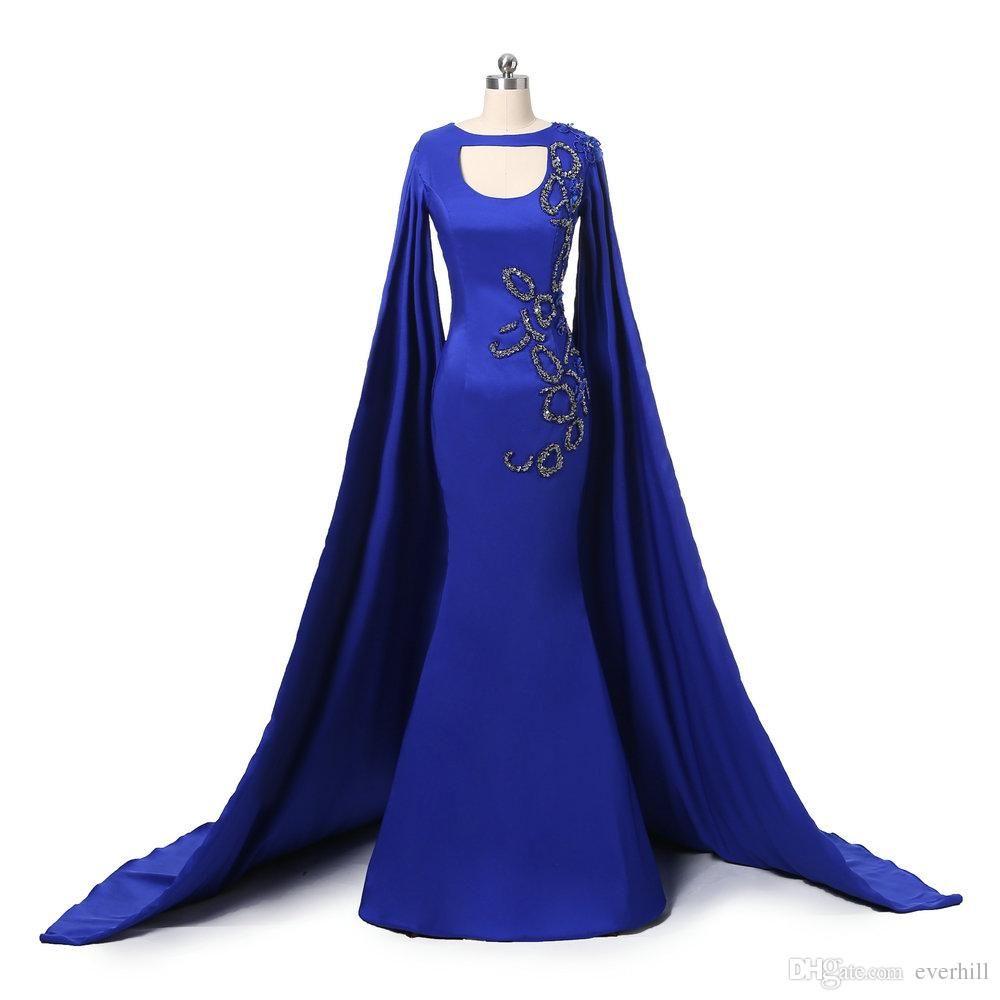 Cheap royal blue high neck mermaid evening dresses party elegant for