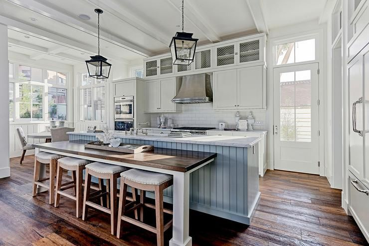 Steel Blue Shiplap Center Island With Drop Down Dining Table And Saddle Seat St Farmhouse Kitchen Inspiration Kitchen Remodel Design Farmhouse Kitchen Interior