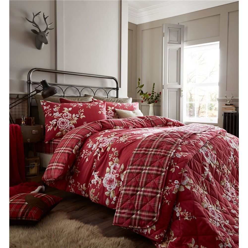 Catherine Lansfield Canterbury Brushed Check Dark Red Duvet Set Covers