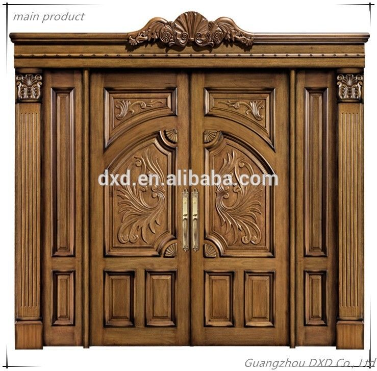 Luxury Solid Wooden Doors Prices Double Door Style Entrance China Wood