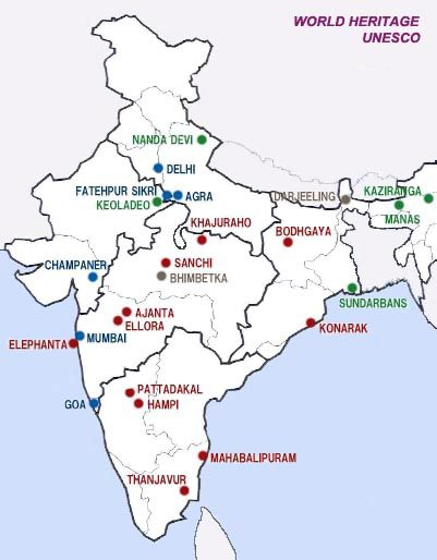 Map of unesco world heritage sites in india india my india my map of unesco world heritage sites in india gumiabroncs Images