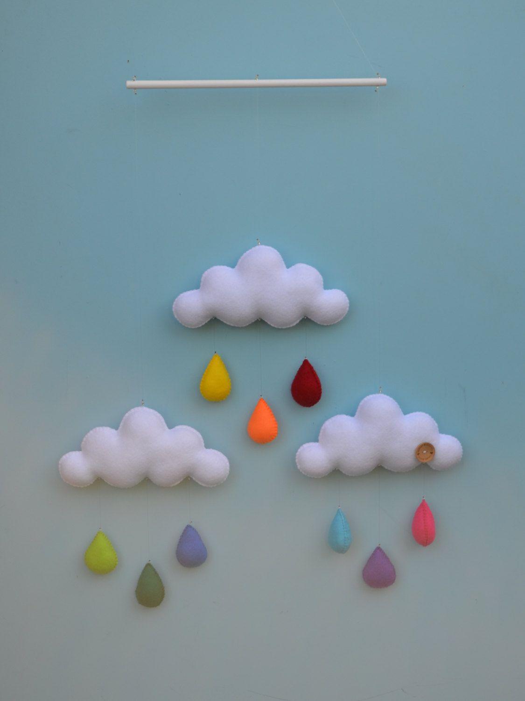 Hand made childrens cloud mobile, nursery decor. Rainbow. $85,00, via Etsy.