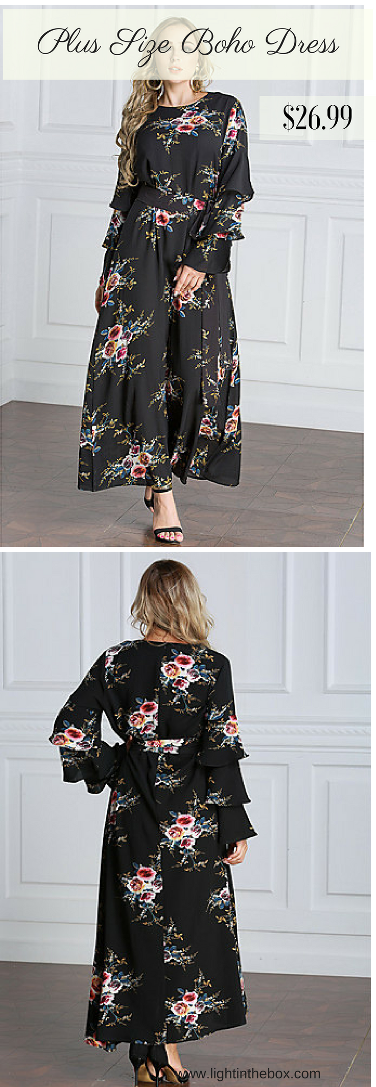Chic stylish floral print long sleeve maxi plus size black dress