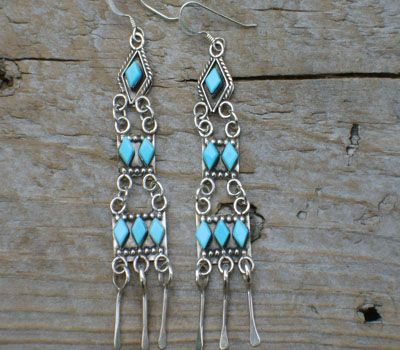 Native American Turquoise Chandelier Earrings | Native American Indian jewelry offered at the turquoise Mine.com ...