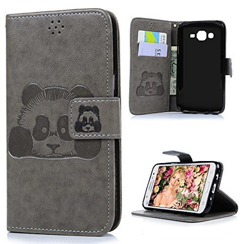 YOKIRIN Galaxy J5 Wallet Case (FOR 2015 Version), Premium Folio PU Leather Embossed Panda Case with Kickstand Card Slots Magnetic Closure Wrist Strap Flip Notebook Full Protective Cover Skin