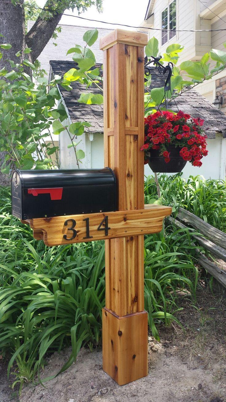 Cedar Mailbox Post Diy Mailbox Mailbox Landscaping