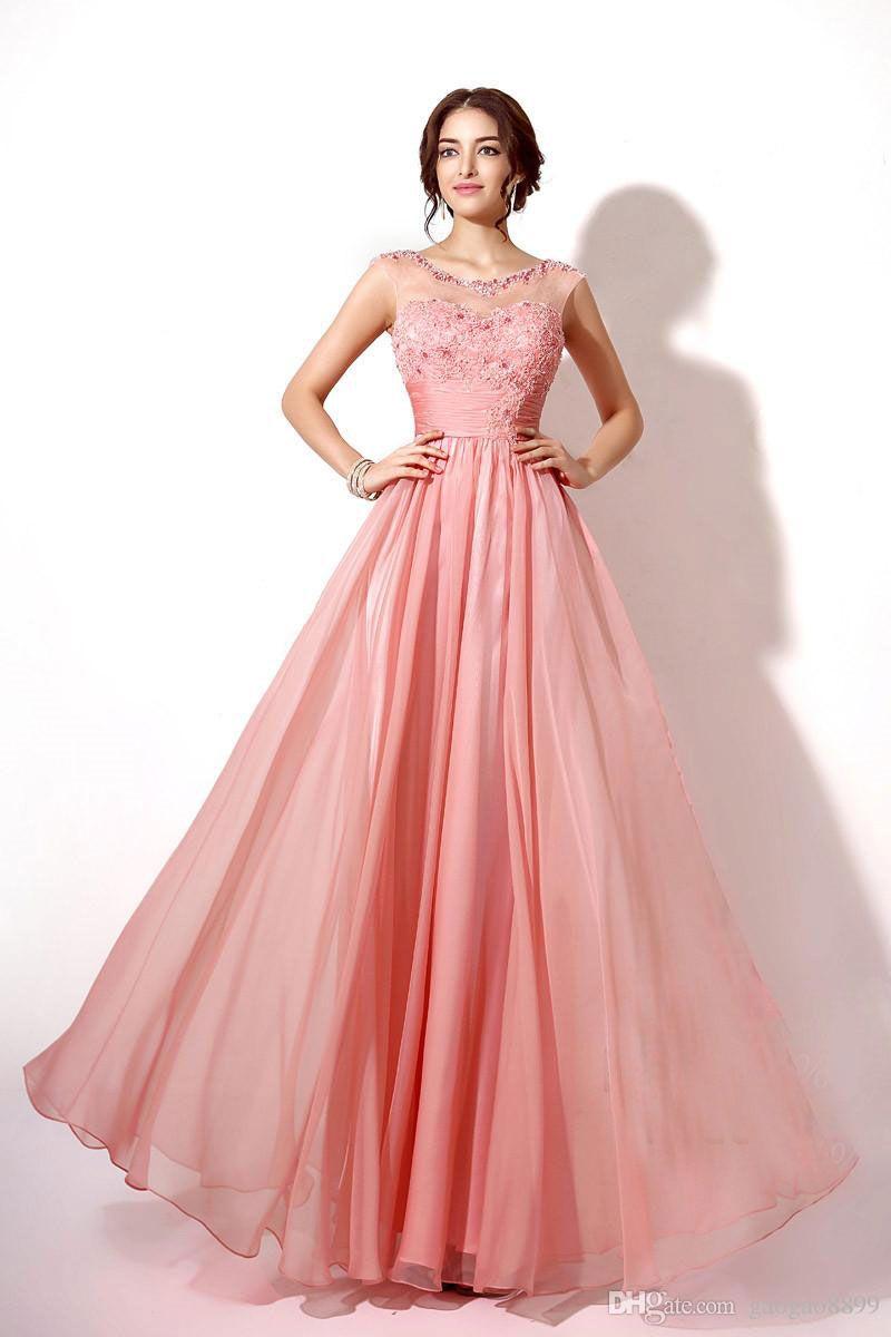 100% Real Image Lace Chiffon Long Bridesmaid Dresses Coral Lilac In ...