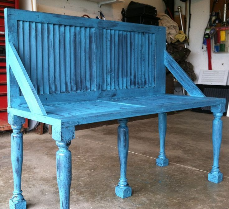 Repurposed shutter bench.I made this using shutters old balustersspare wood I