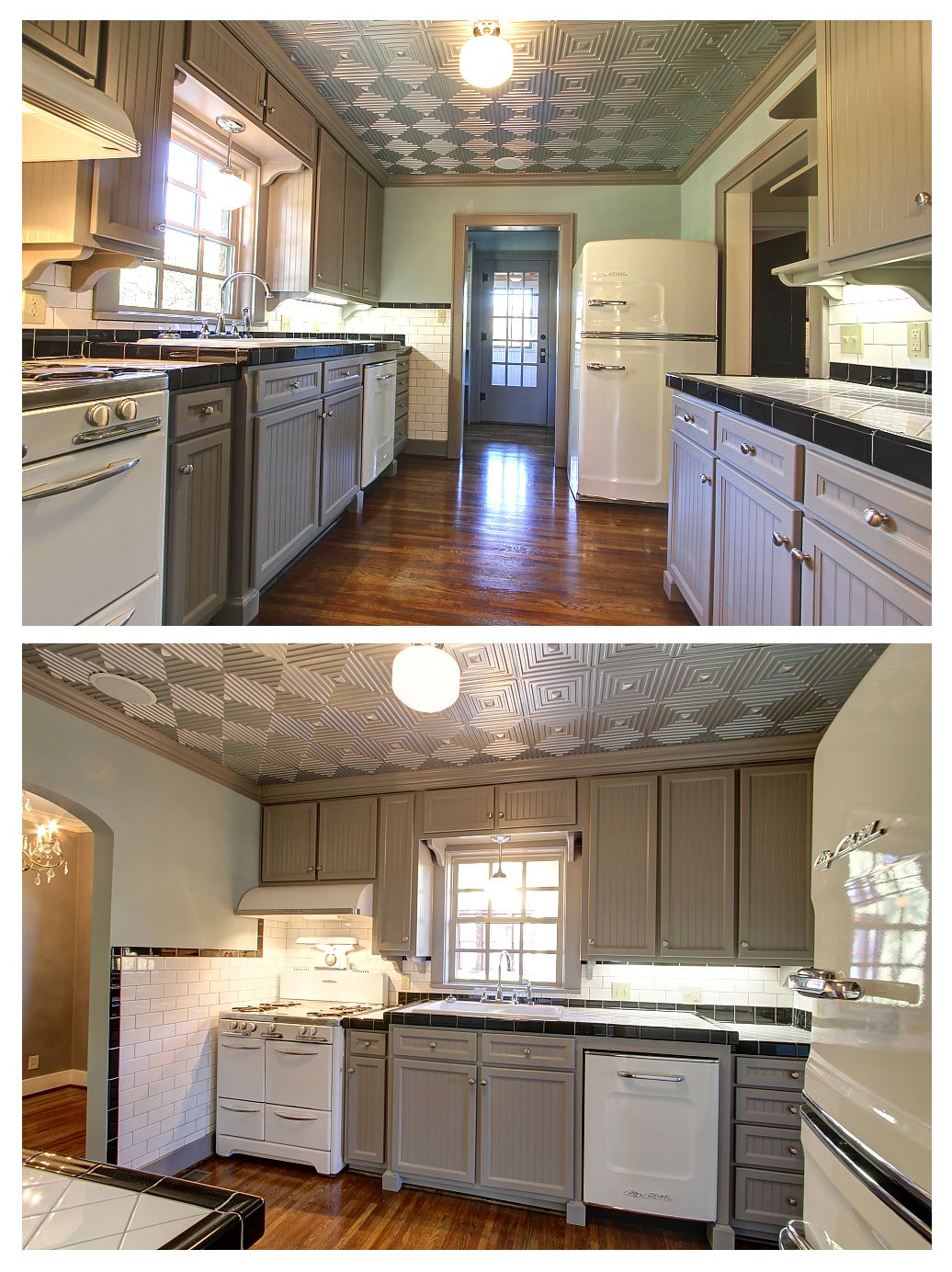 Modern kitchen in grey and white with Big Chill fridge and