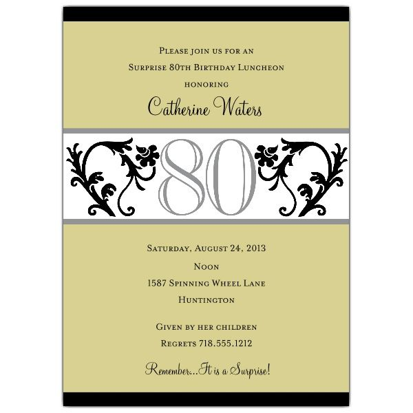 Elegant Vine Chartreuse 80th Birthday Invitations