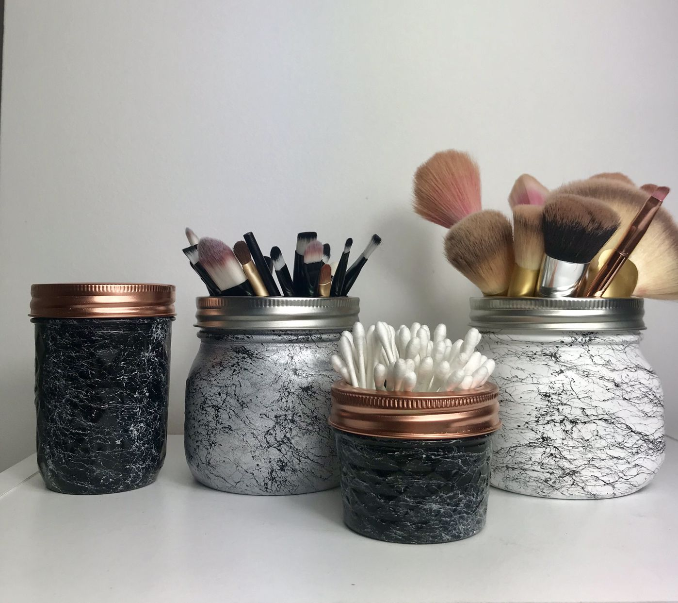 Brush holders silver , black and white Quilting designs