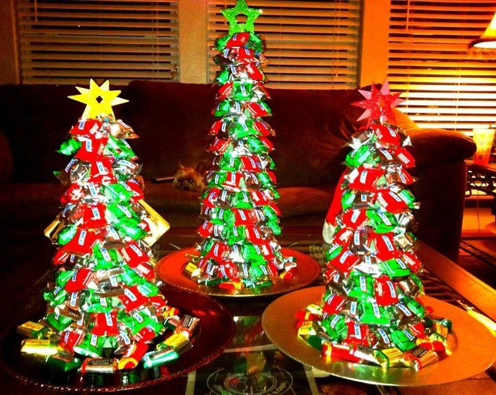 candy christmas treeuse green styrofoam cone can buy at michaels and push pins to attach the chocolates