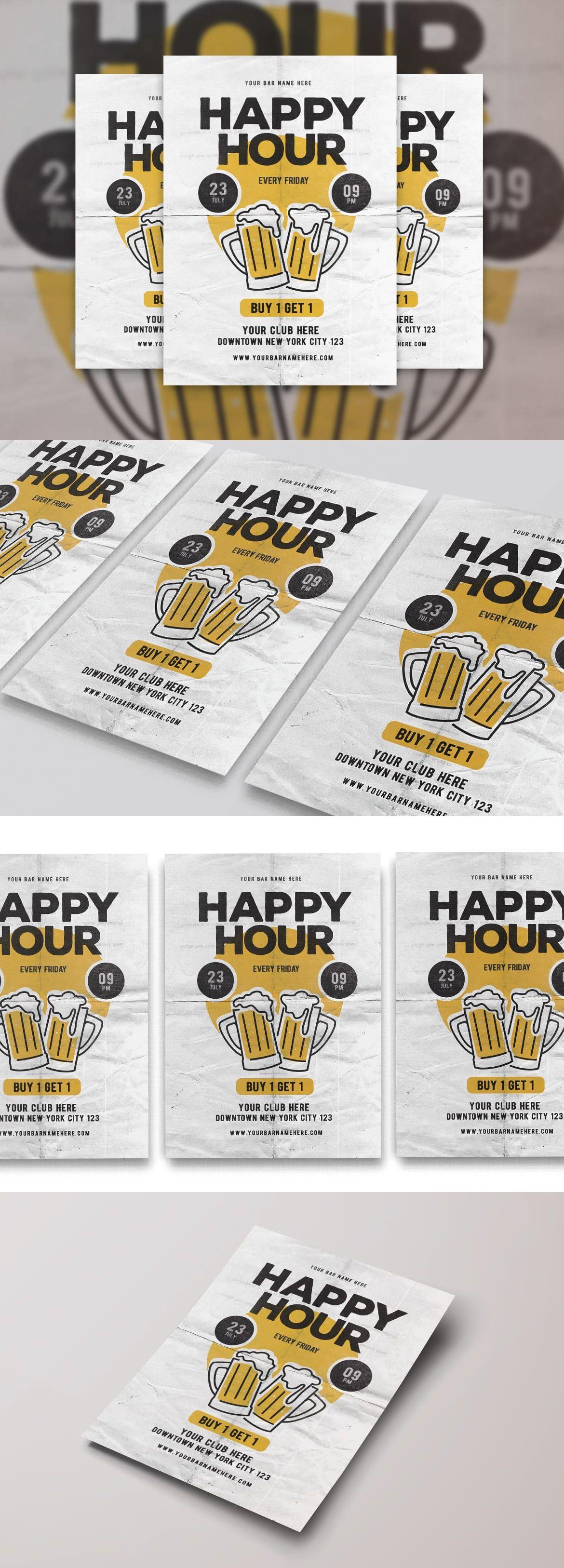 Happy hour flyer design template psd flyer design pinterest happy hour flyer design template psd maxwellsz