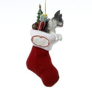 $11.90-$29.70 Boston Terrier Resin Dog in Stocking Customisable Christmas Ornament. This adorable ornament measures about 5.5 inches tall, and 3 inches wide. This resin, knit, and ceramic ornament features a cute dog and glittery presants in a knit stocking with customisable name plate.