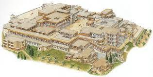 Ricostruzione del Palazzo di Cnosso. Era un palazzo a sei piani, costruito in scaglie di pietra e malta, con i tetti in legno. Abitato già nel neolitico, divenne un florido centro della civiltà minoica verso il 2000 a.C..