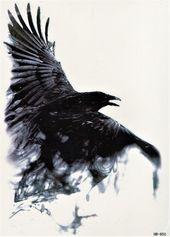 Photo of Vogel Dark Shadow Ghost Crow Tattoo Tätowierung 5,9×8,2 inch HB850,  #59×82 #Crow #Dark #Ghos…