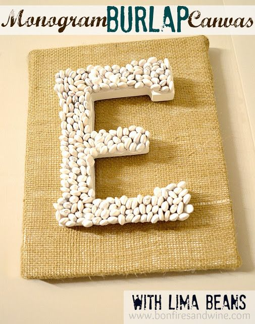 Burlap Monogram Canvas- spell bake and put above the cabinets!!