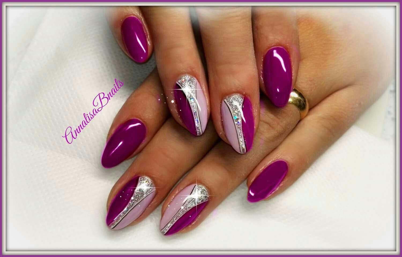 Viola lilla pastello argento glitter particolari nails for Parete bianca con glitter argento