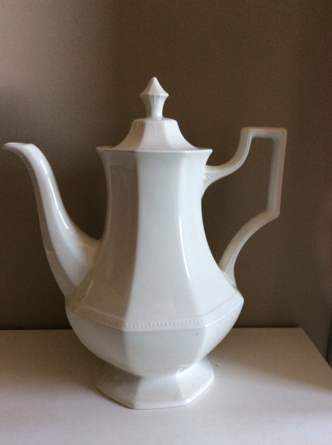 Vintage Johnson Brothers Heritage White China Coffee Pot with Lid ...