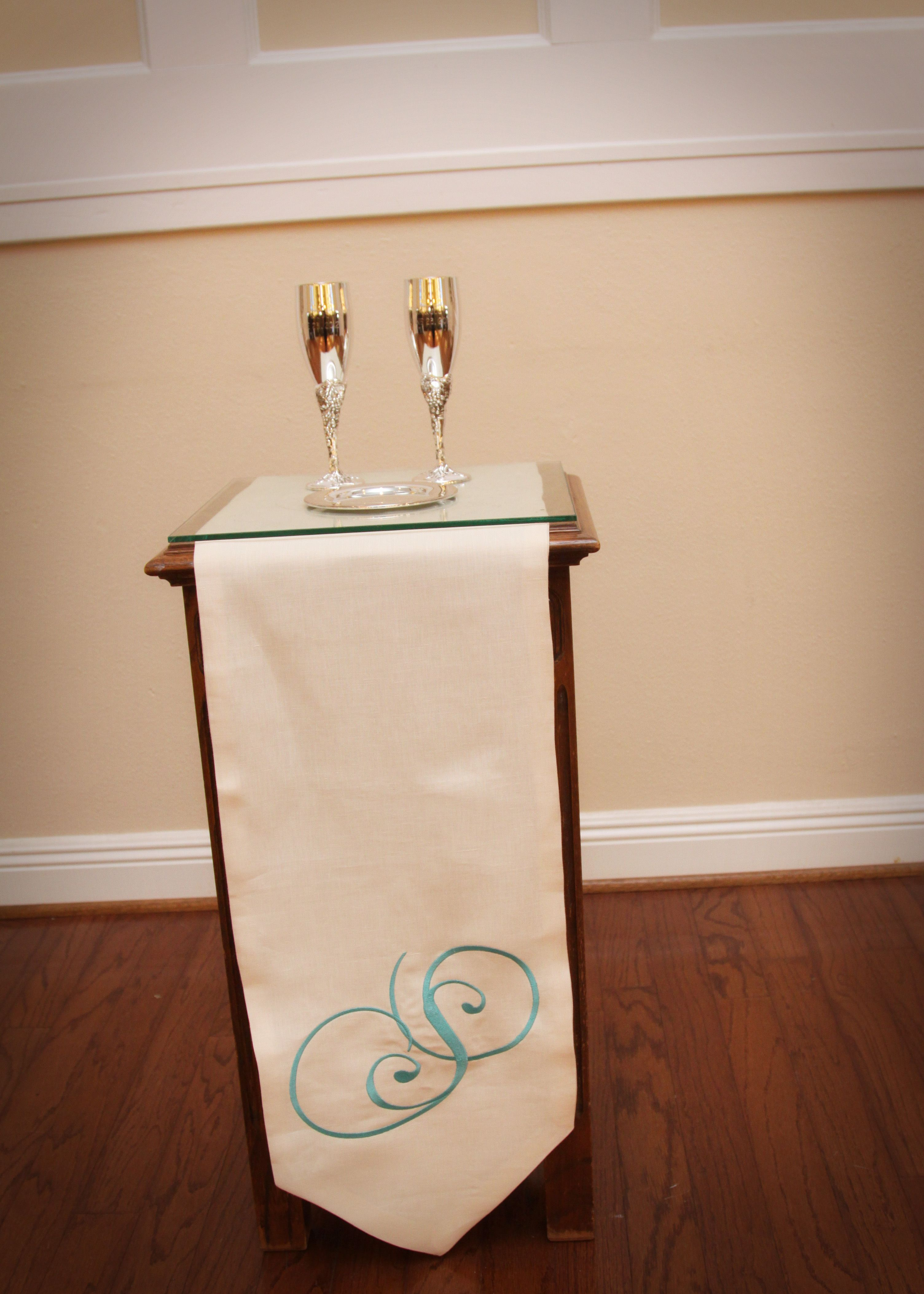 weddings - communion table with monogrammed runner