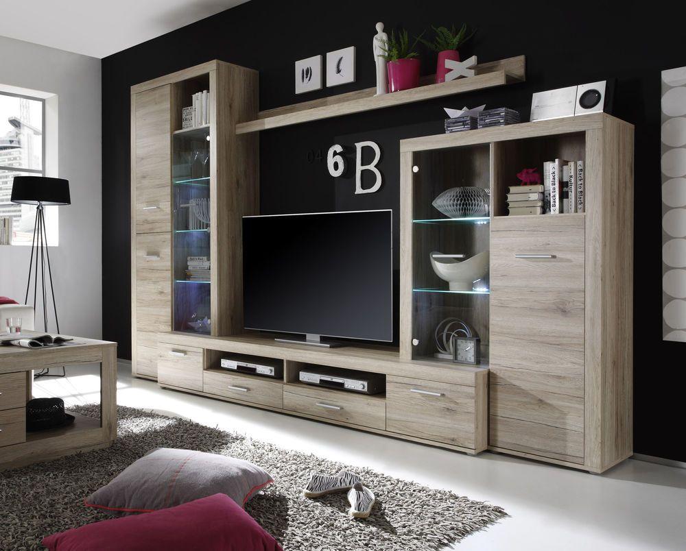 Wohnwand Anbauwand Schrankwand Eiche San Remo Hell Woody 61 00076 Tv Unit Design